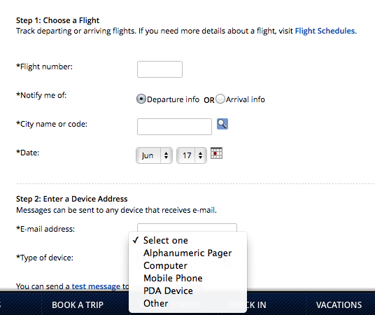 Delta Airlines Notification UI
